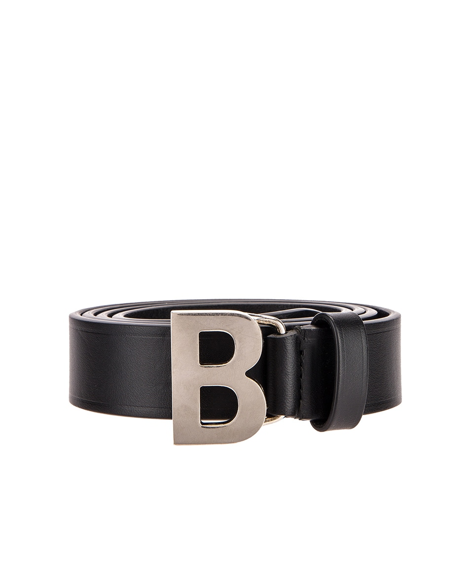 Image 1 of Balenciaga Thin B Belt in Black