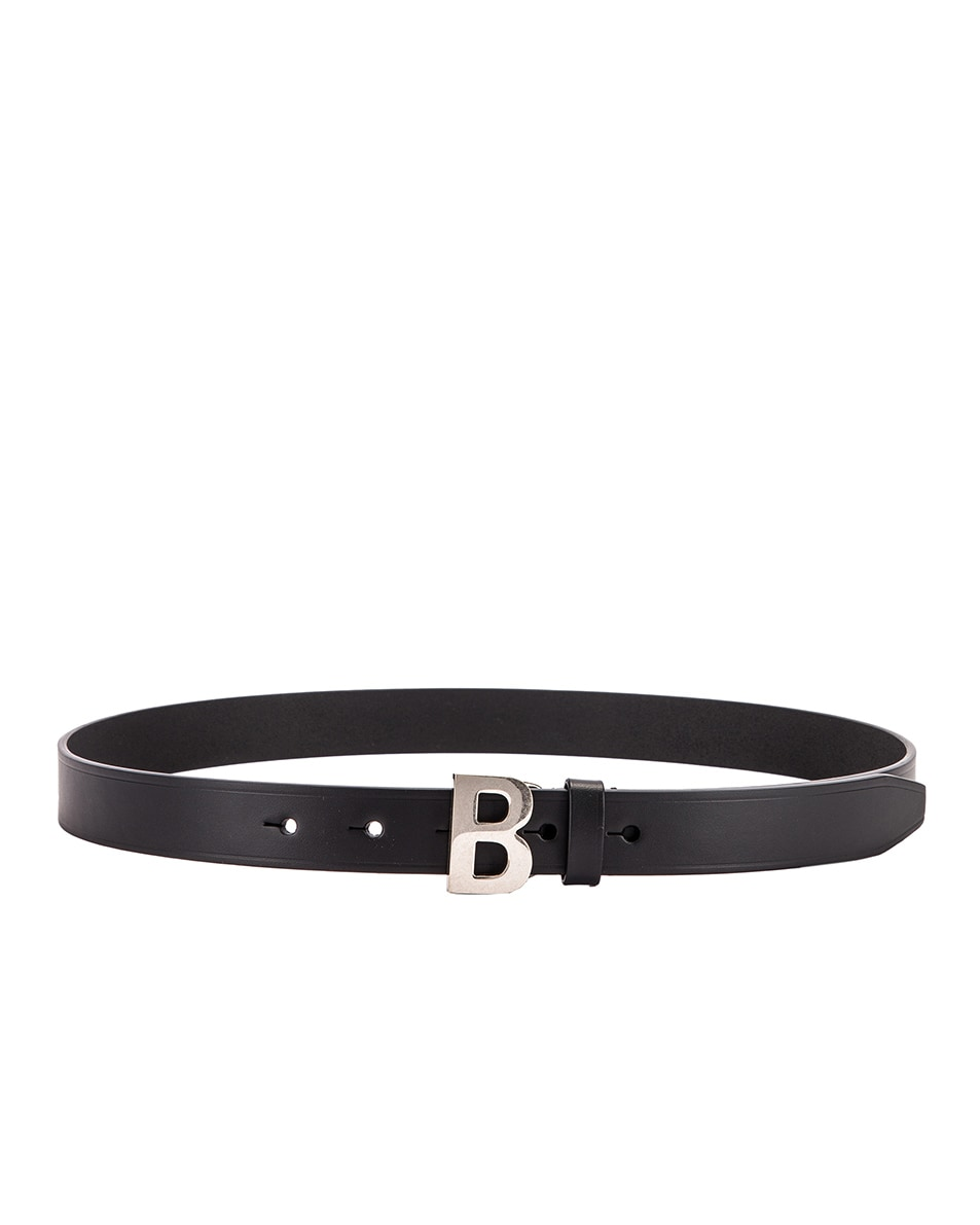 Image 2 of Balenciaga Thin B Belt in Black