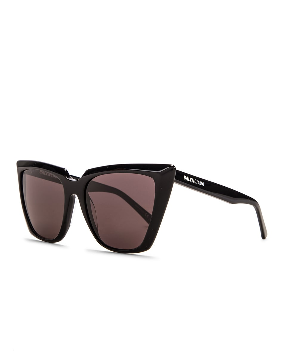 Image 2 of Balenciaga Acetate Tip Sunglasses in Shiny Black & Grey