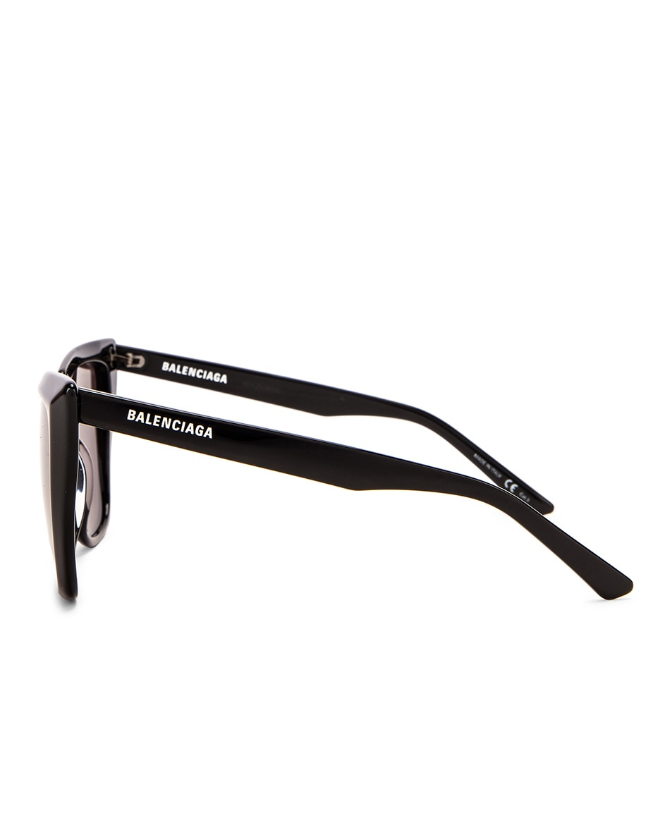 Image 3 of Balenciaga Acetate Tip Sunglasses in Shiny Black & Grey