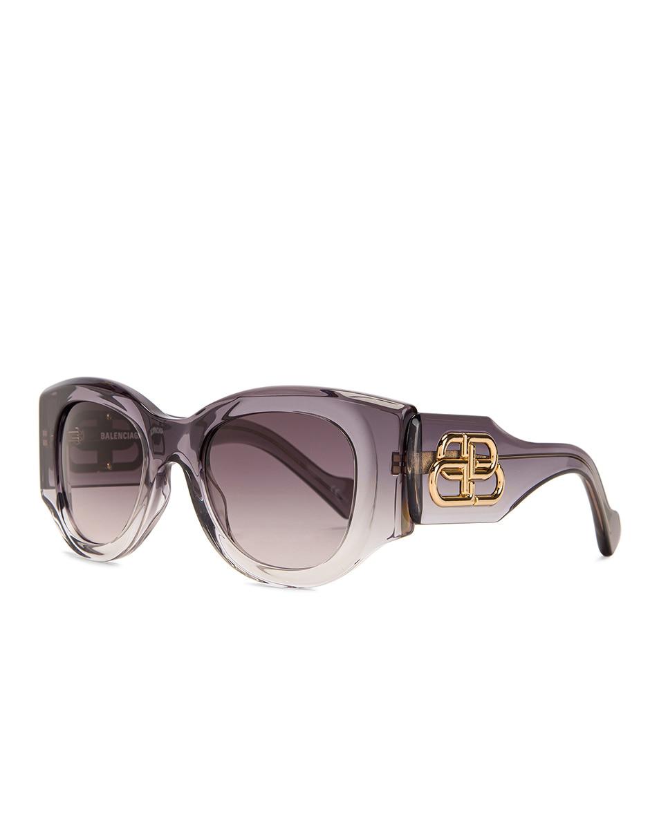 Image 2 of Balenciaga Paris Statement Sunglasses in Shiny Grey