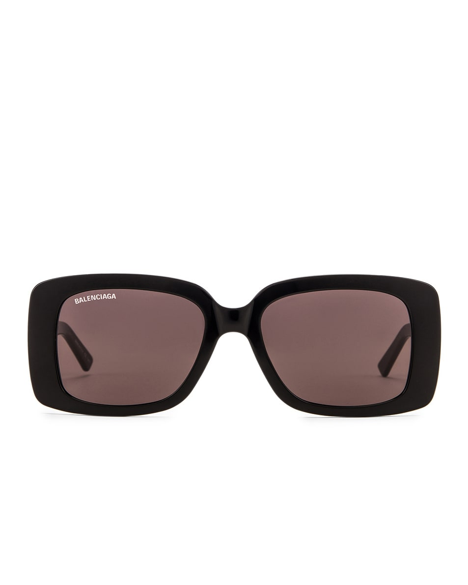 Image 1 of Balenciaga Acetate Rectangular Sunglasses in Shiny Black & Grey