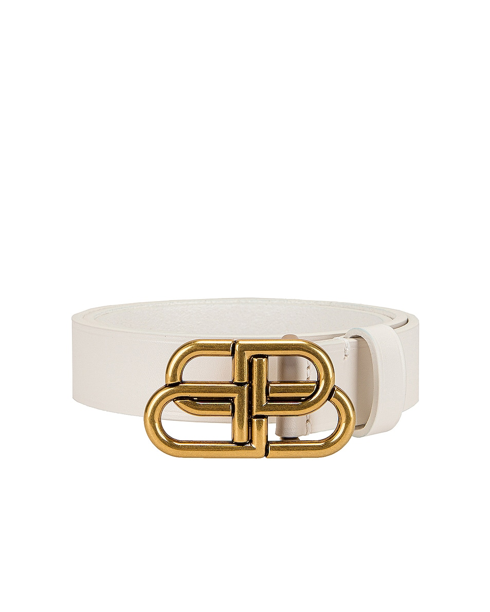 Image 1 of Balenciaga BB Thin Belt in White