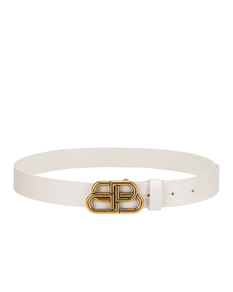 Image 2 of Balenciaga BB Thin Belt in White