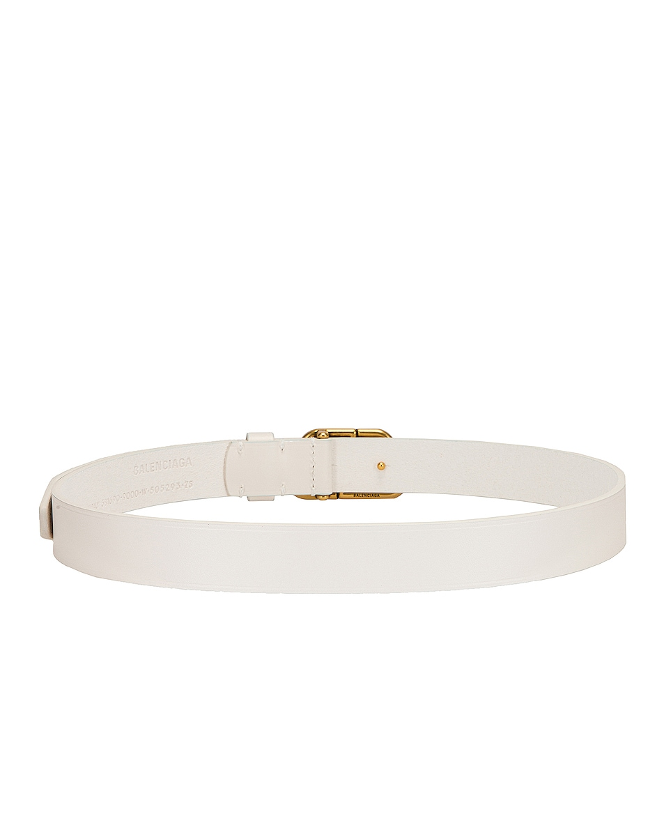 Image 3 of Balenciaga BB Thin Belt in White