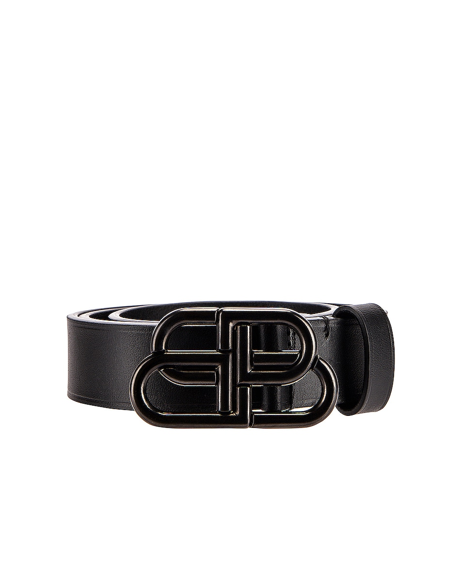 Image 1 of Balenciaga BB Thin Belt in Black