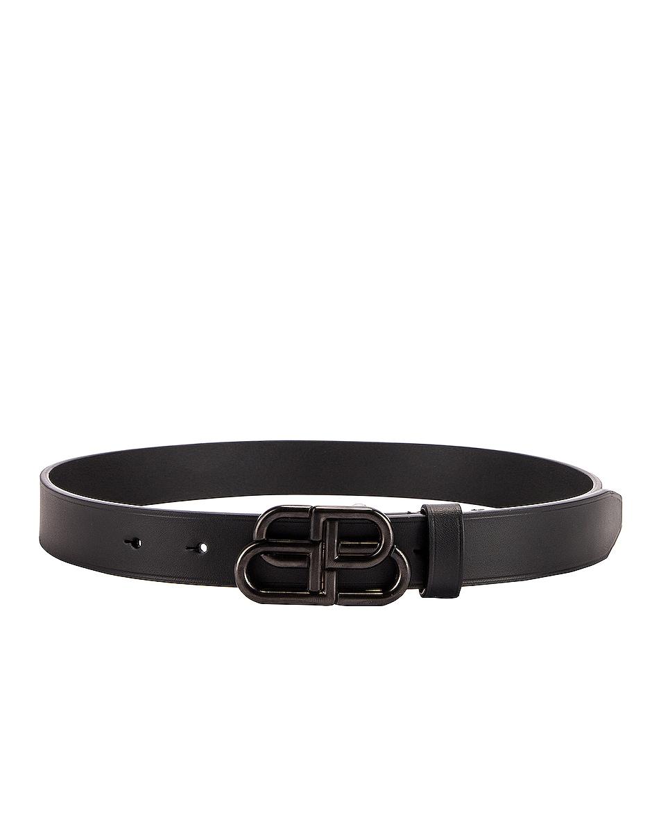 Image 2 of Balenciaga BB Thin Belt in Black