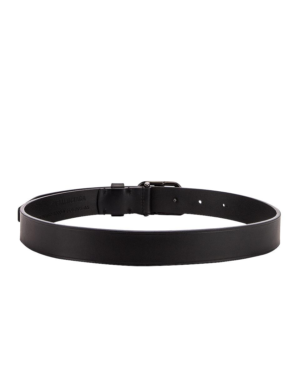 Image 3 of Balenciaga BB Thin Belt in Black
