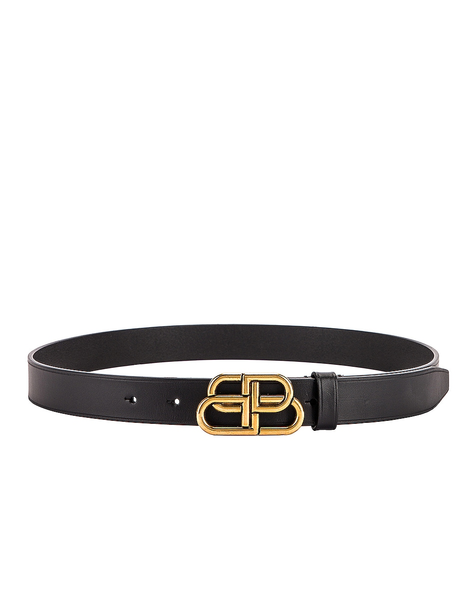 Image 1 of Balenciaga BB Thin Belt in Black