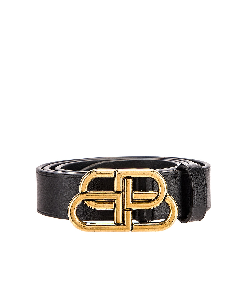 Image 3 of Balenciaga BB Thin Belt in Black