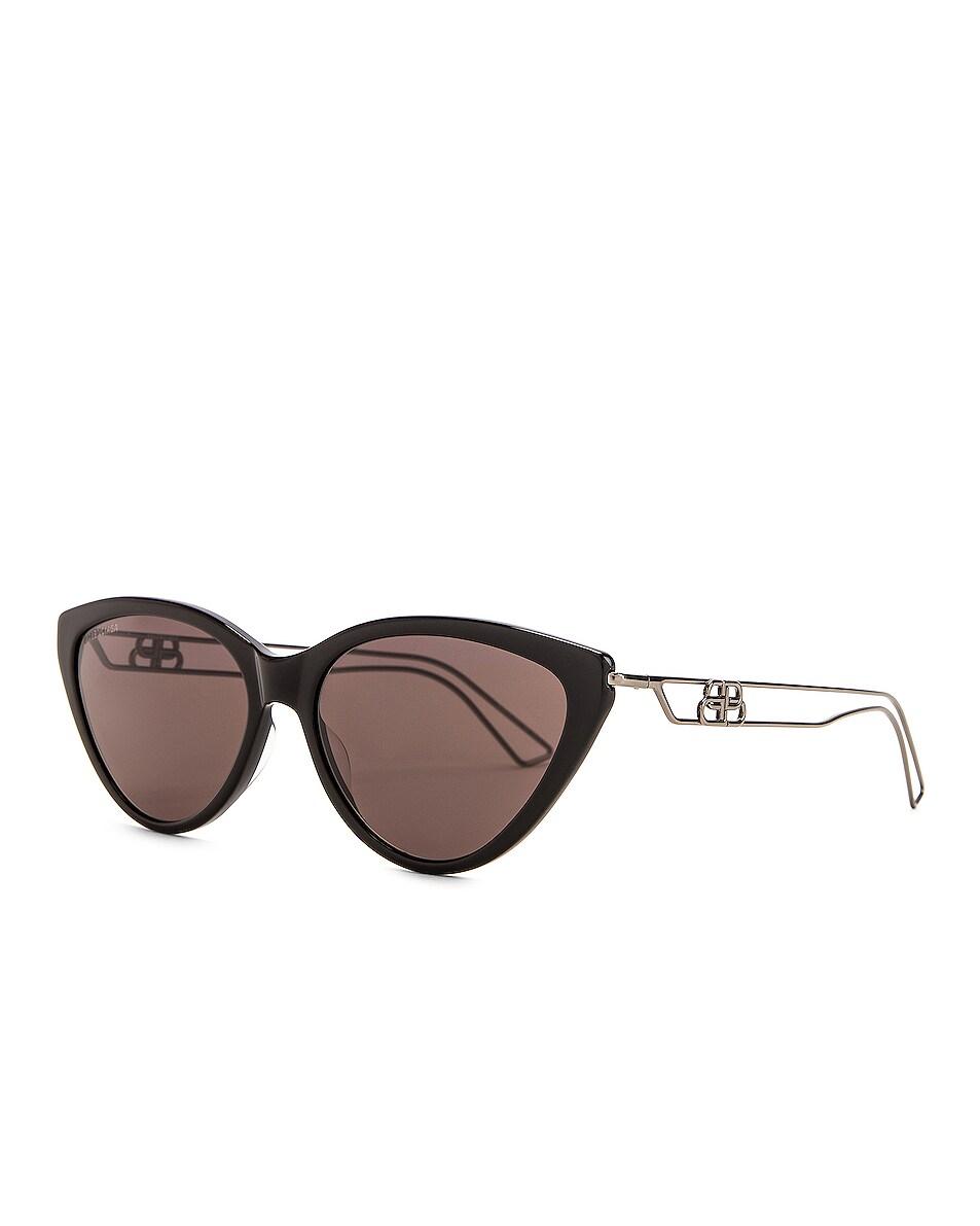 Image 2 of Balenciaga Inception Acetate Sunglasses in Shiny Black & Grey