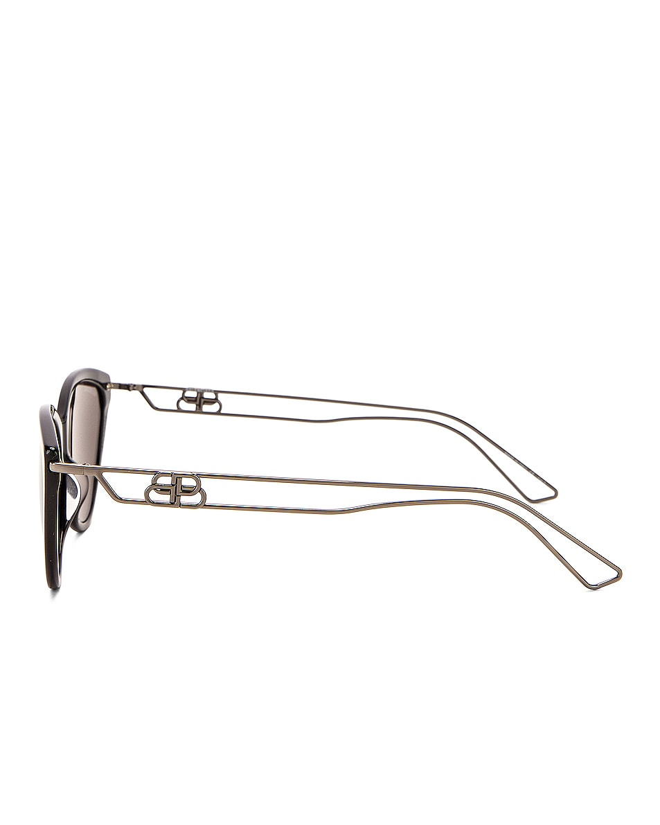 Image 3 of Balenciaga Inception Acetate Sunglasses in Shiny Black & Grey