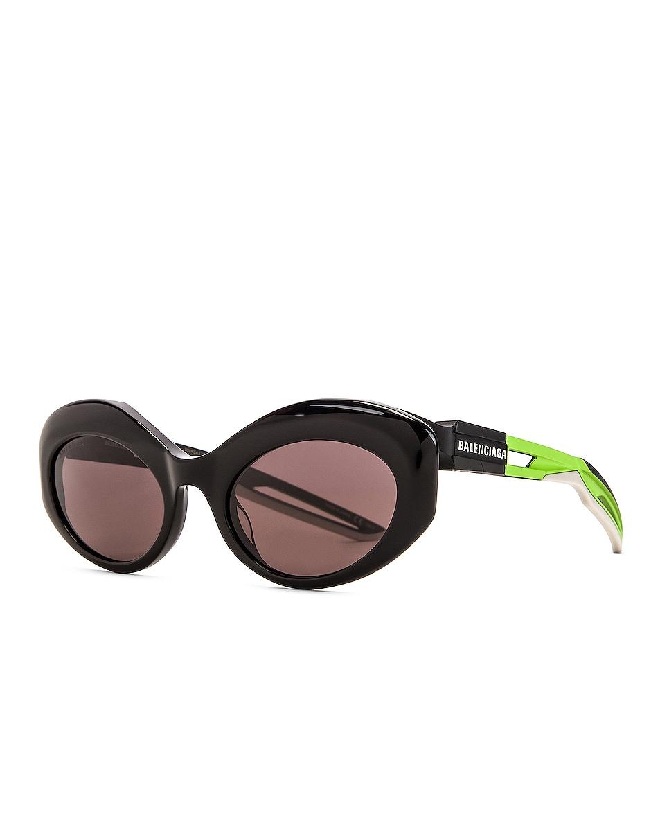 Image 2 of Balenciaga Hybrid Sport Sunglasses in Shiny Black & Grey