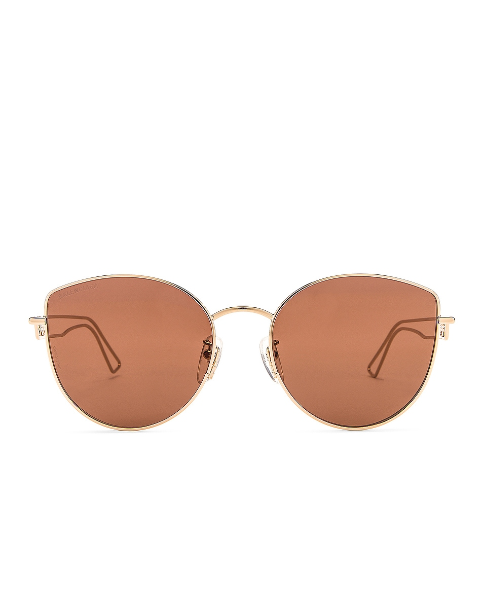 Image 1 of Balenciaga Inception Metal Sunglasses in Shiny Light Gold & Brown