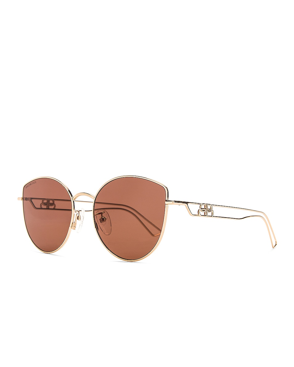 Image 2 of Balenciaga Inception Metal Sunglasses in Shiny Light Gold & Brown