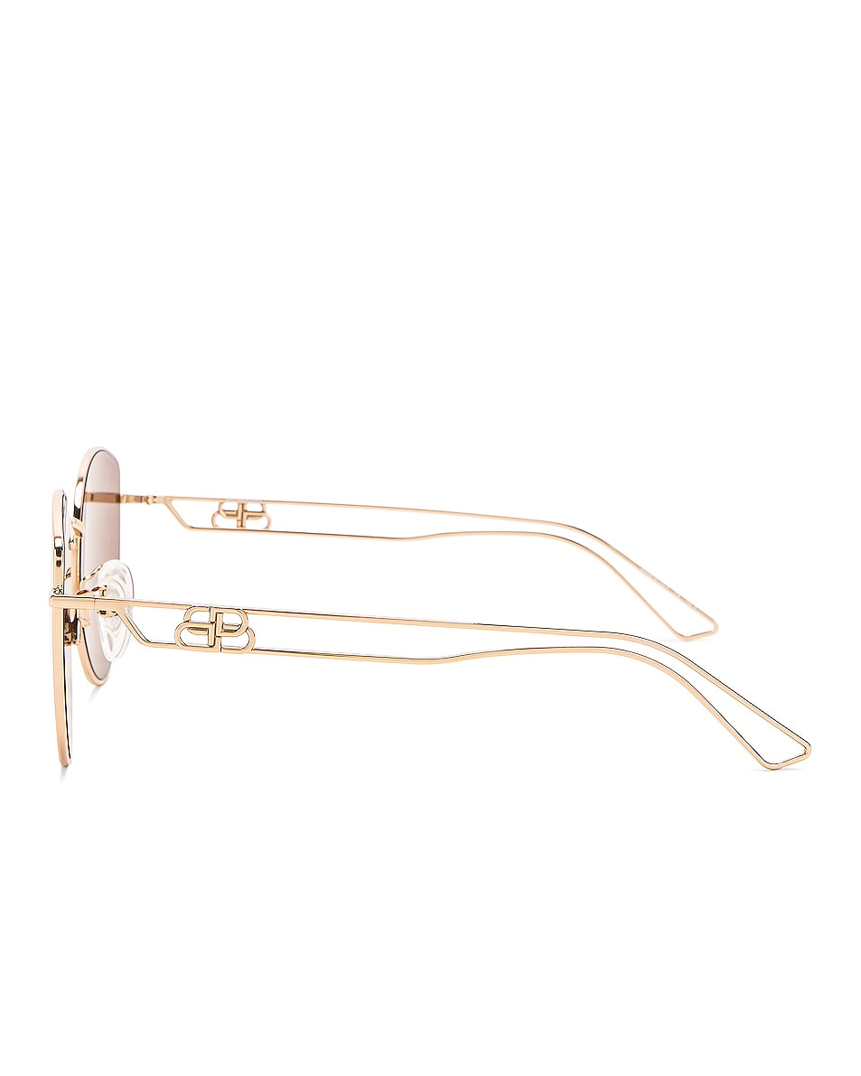 Image 3 of Balenciaga Inception Metal Sunglasses in Shiny Light Gold & Brown