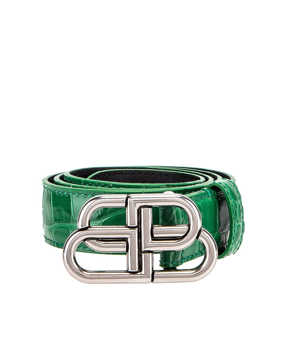 Image 1 of Balenciaga BB Thin Belt in Leaf Green
