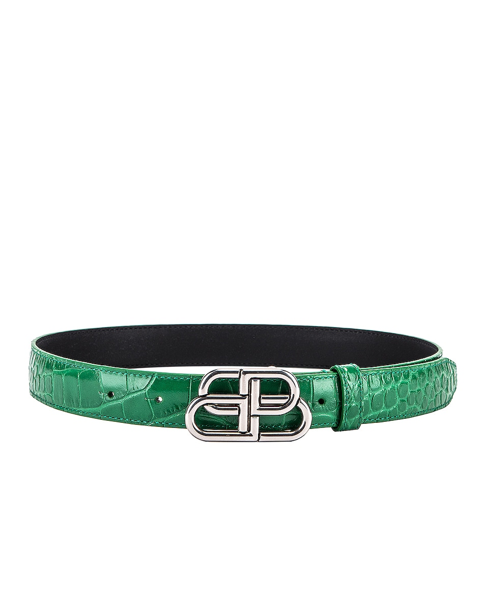 Image 2 of Balenciaga BB Thin Belt in Leaf Green