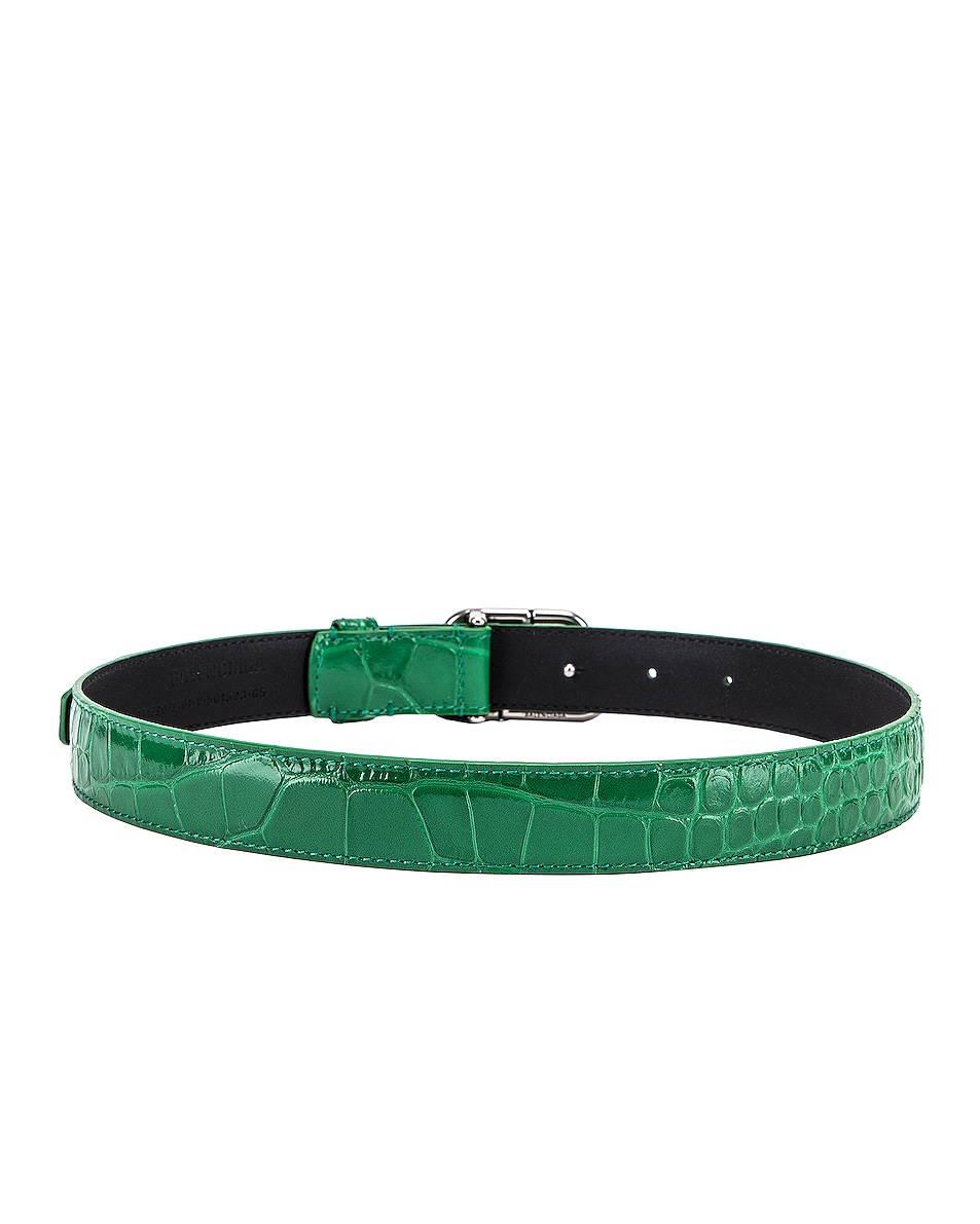 Image 3 of Balenciaga BB Thin Belt in Leaf Green