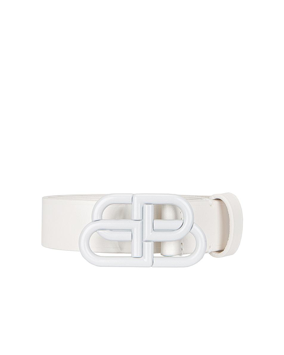 Image 1 of Balenciaga BB Thin Belt in White