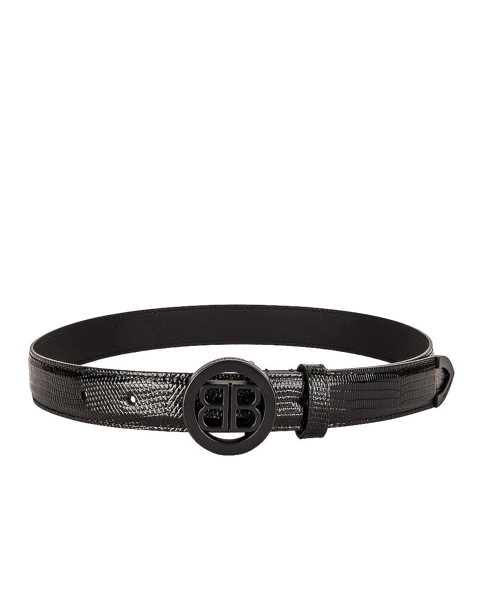 Image 1 of Balenciaga Circled BB Belt in Black