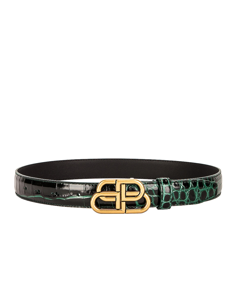 Image 1 of Balenciaga BB Thin Belt in Forest Green