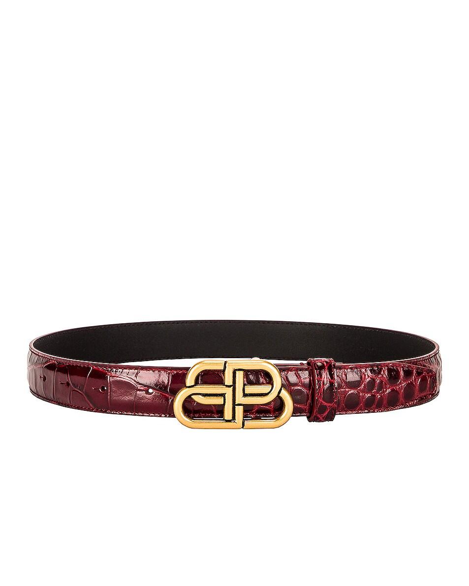 Image 1 of Balenciaga BB Thin Belt in Dark Red