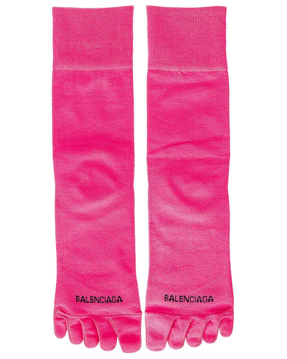 Image 1 of Balenciaga Toe Socks in Fuxia & Black