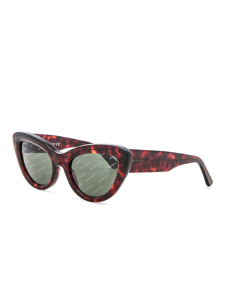 Image 2 of Balenciaga Cat Eye Sunglasses in Red Havana