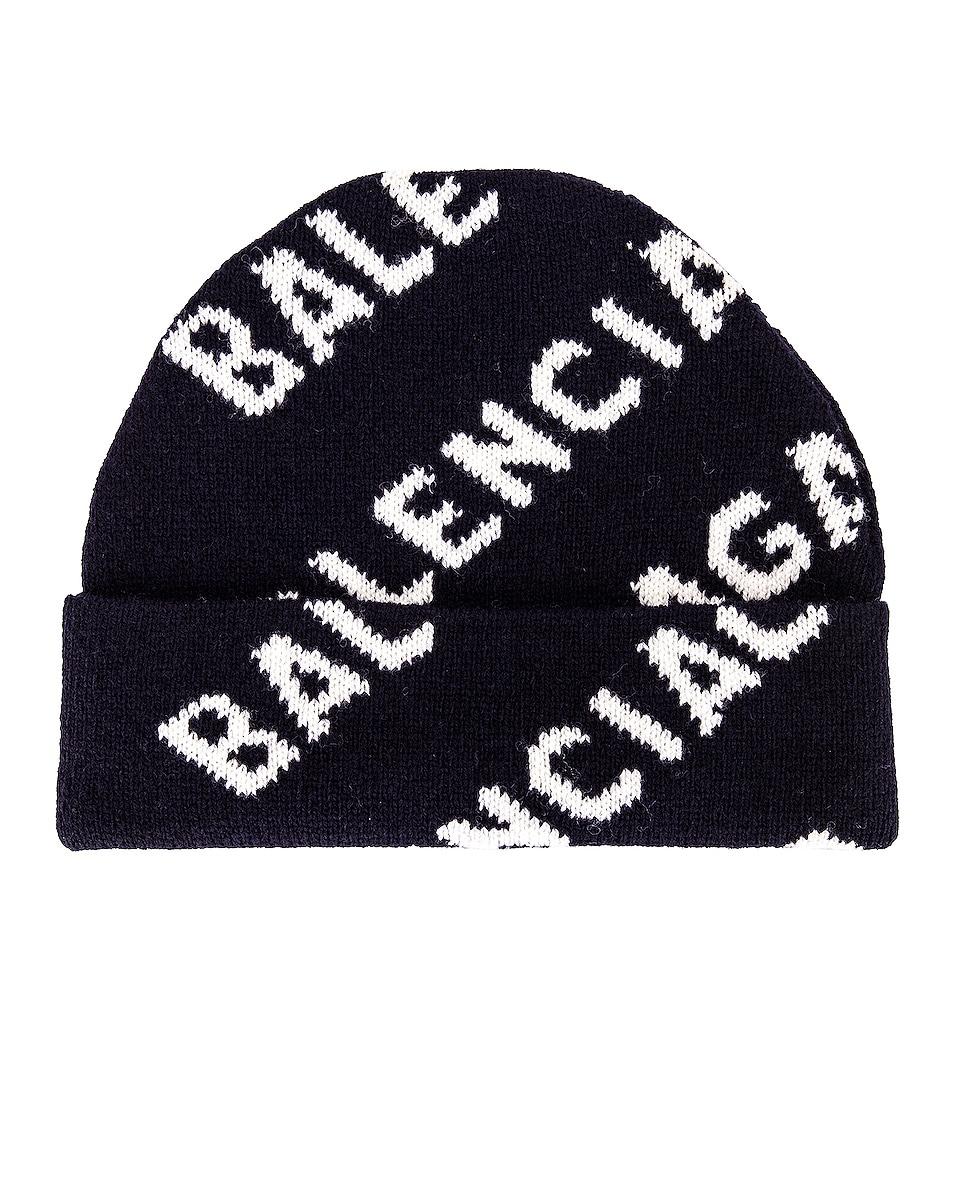 Image 1 of Balenciaga All Over Logo Beanie in Navy & White