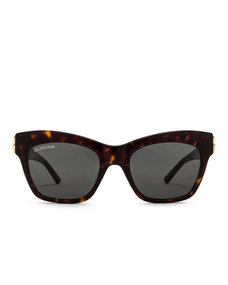 Image 1 of Balenciaga Butterfly BB Logo Sunglasses in Shiny Dark Havana