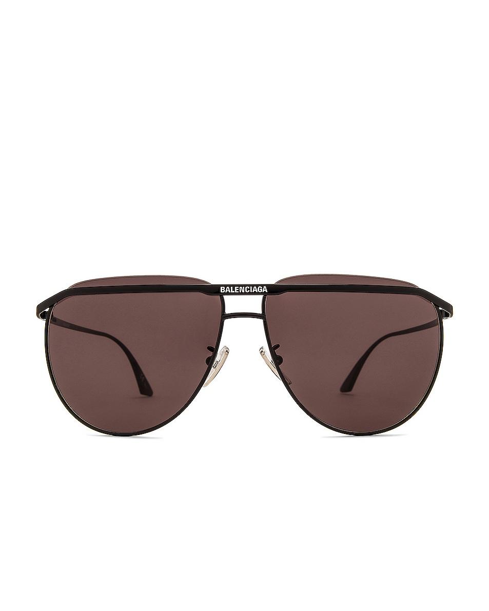 Image 1 of Balenciaga Slim Pilot Sunglasses in Shiny Black