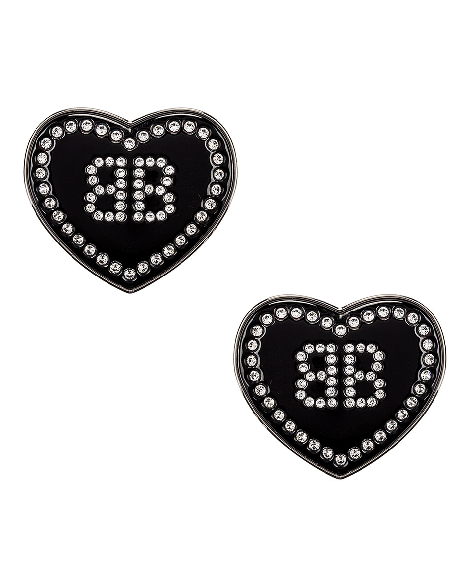 Image 1 of Balenciaga Crush Earrings in Black & Crystal