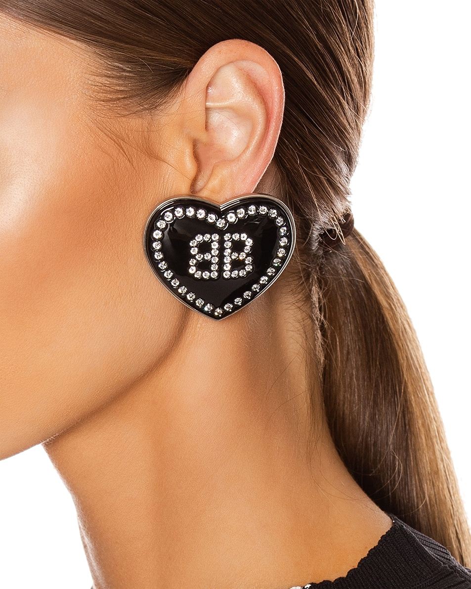 Image 2 of Balenciaga Crush Earrings in Black & Crystal