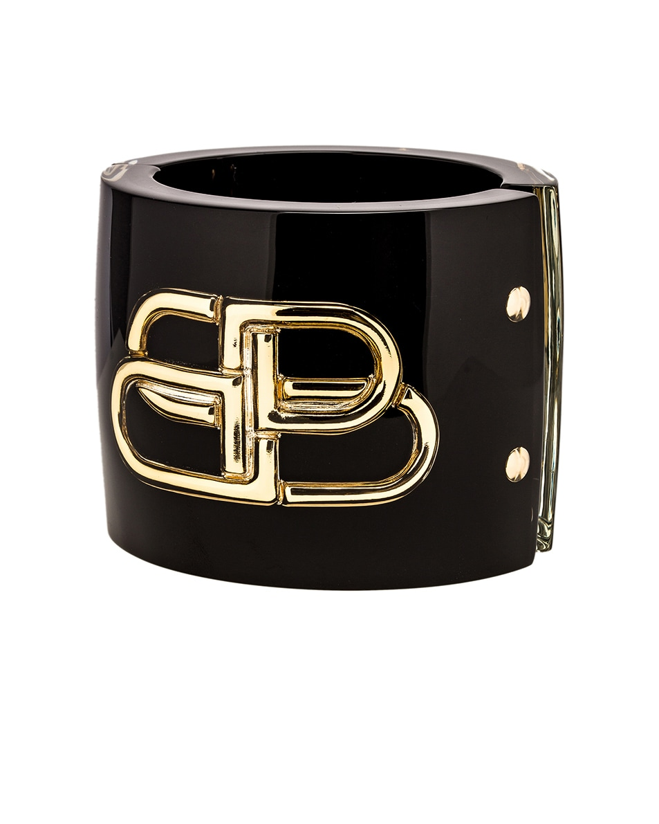 Image 1 of Balenciaga BB Cuff in Black & Gold