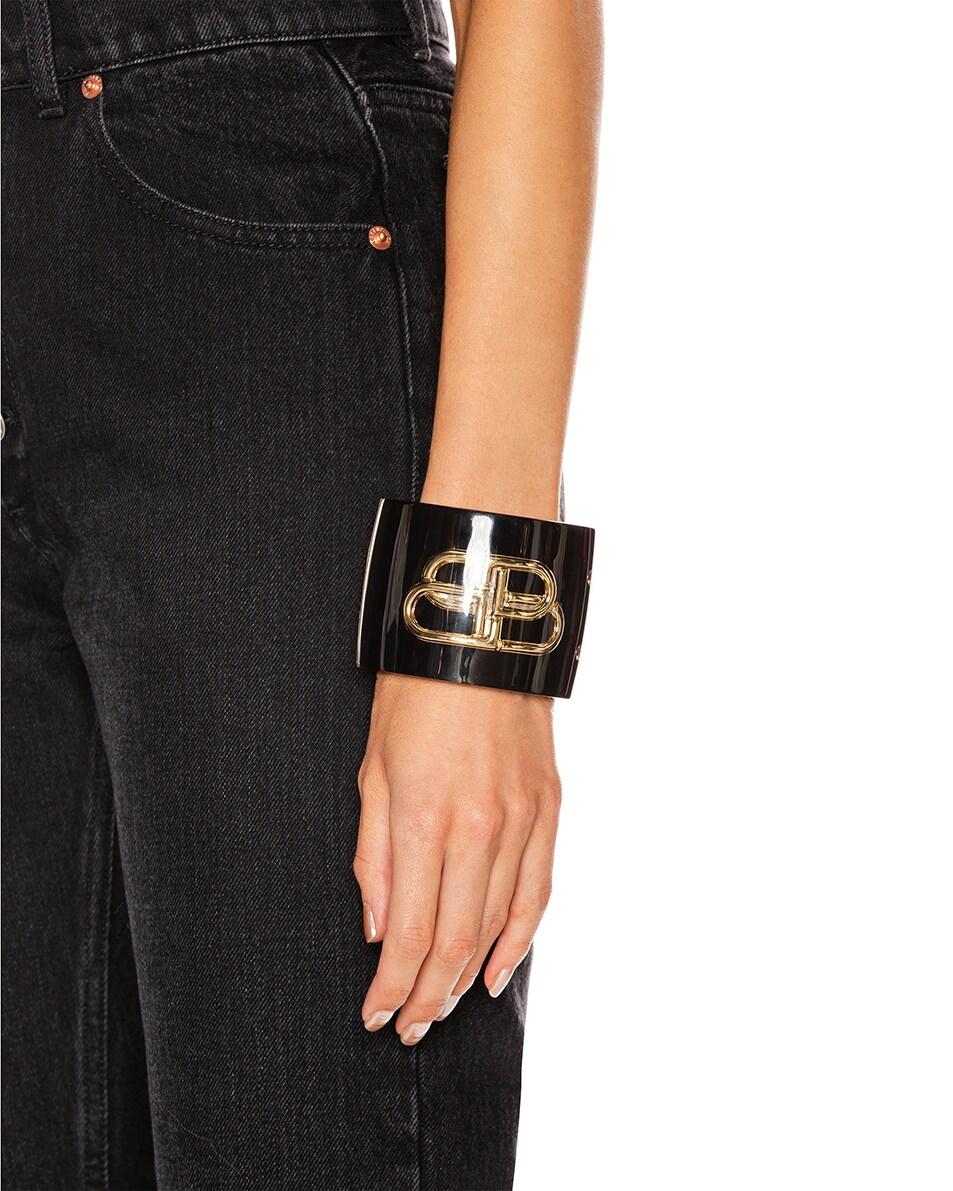 Image 2 of Balenciaga BB Cuff in Black & Gold