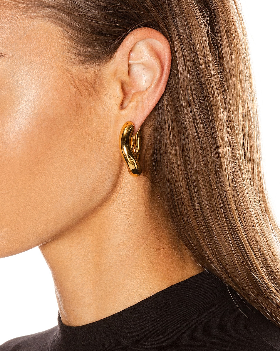 Image 2 of Balenciaga Loop Earrings in Shiny Gold