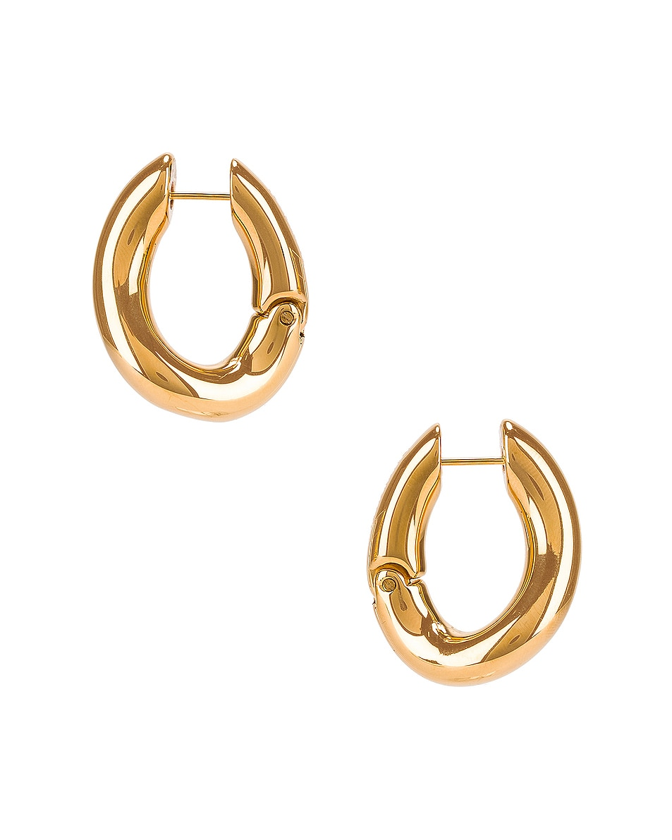 Image 3 of Balenciaga Loop Earrings in Shiny Gold