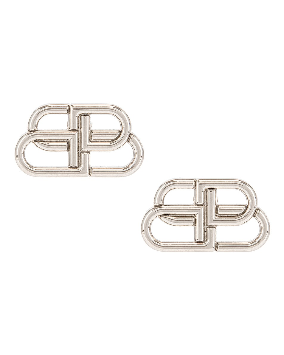 Image 1 of Balenciaga BB Stud Earrings in Silver