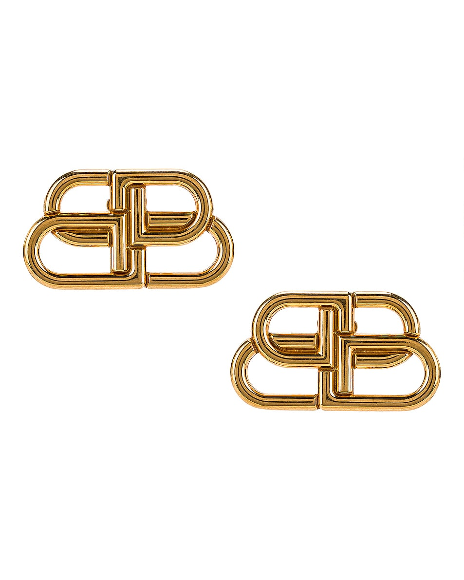 Image 1 of Balenciaga BB Stud Earrings in Gold