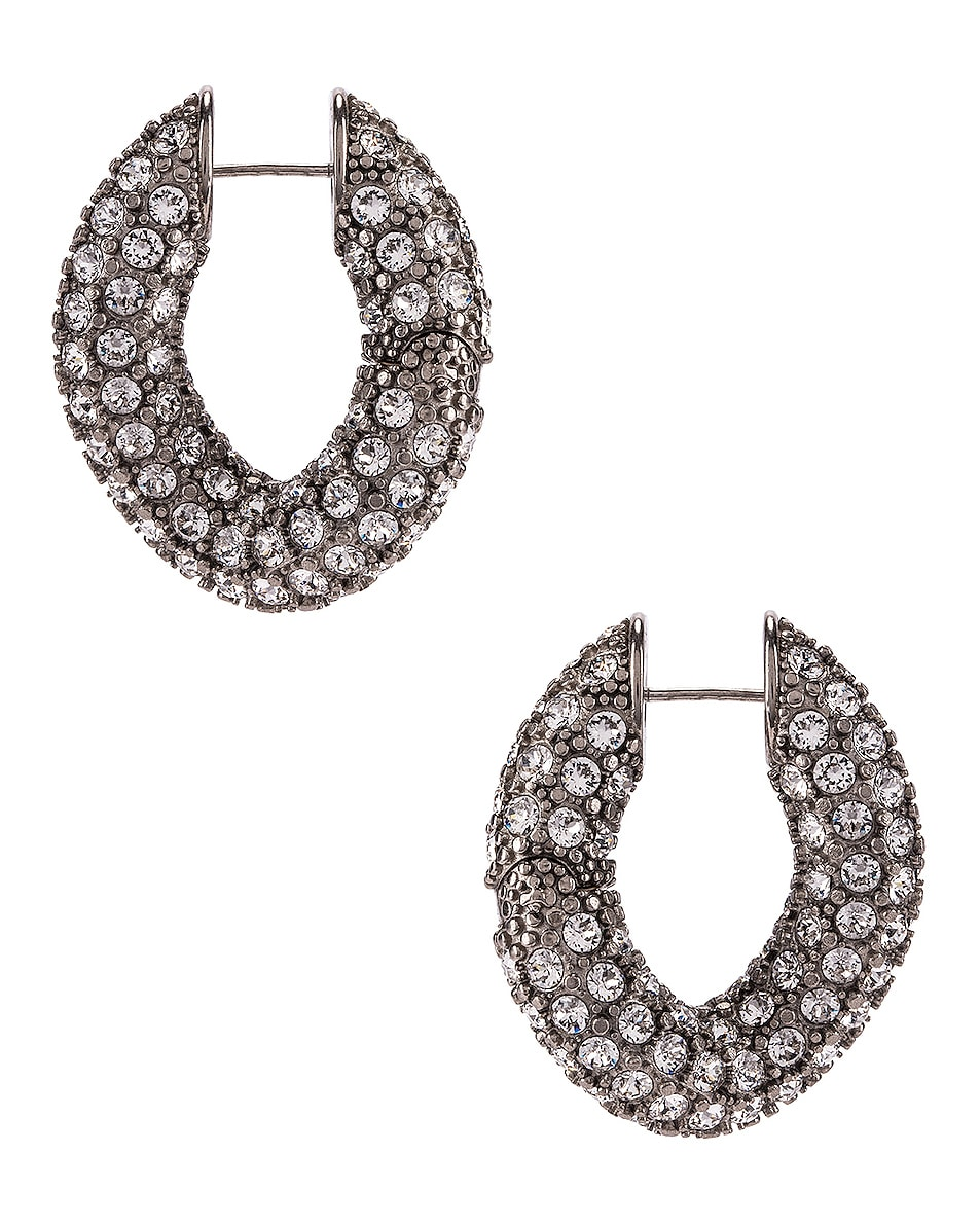 Image 1 of Balenciaga Strass Loop Earrings in Crystal & Antique Silver