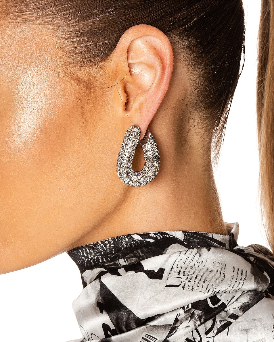 Image 2 of Balenciaga Strass Loop Earrings in Crystal & Antique Silver