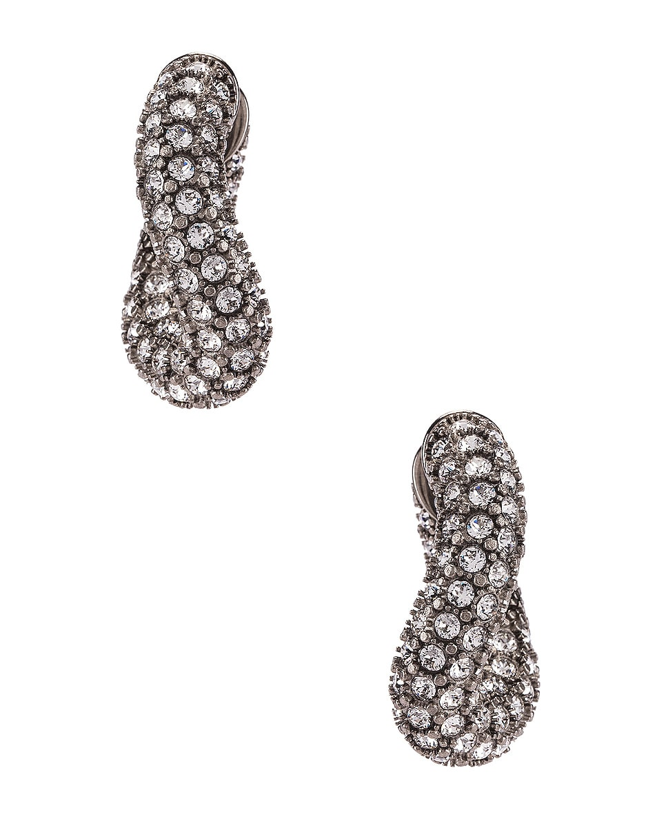 Image 3 of Balenciaga Strass Loop Earrings in Crystal & Antique Silver
