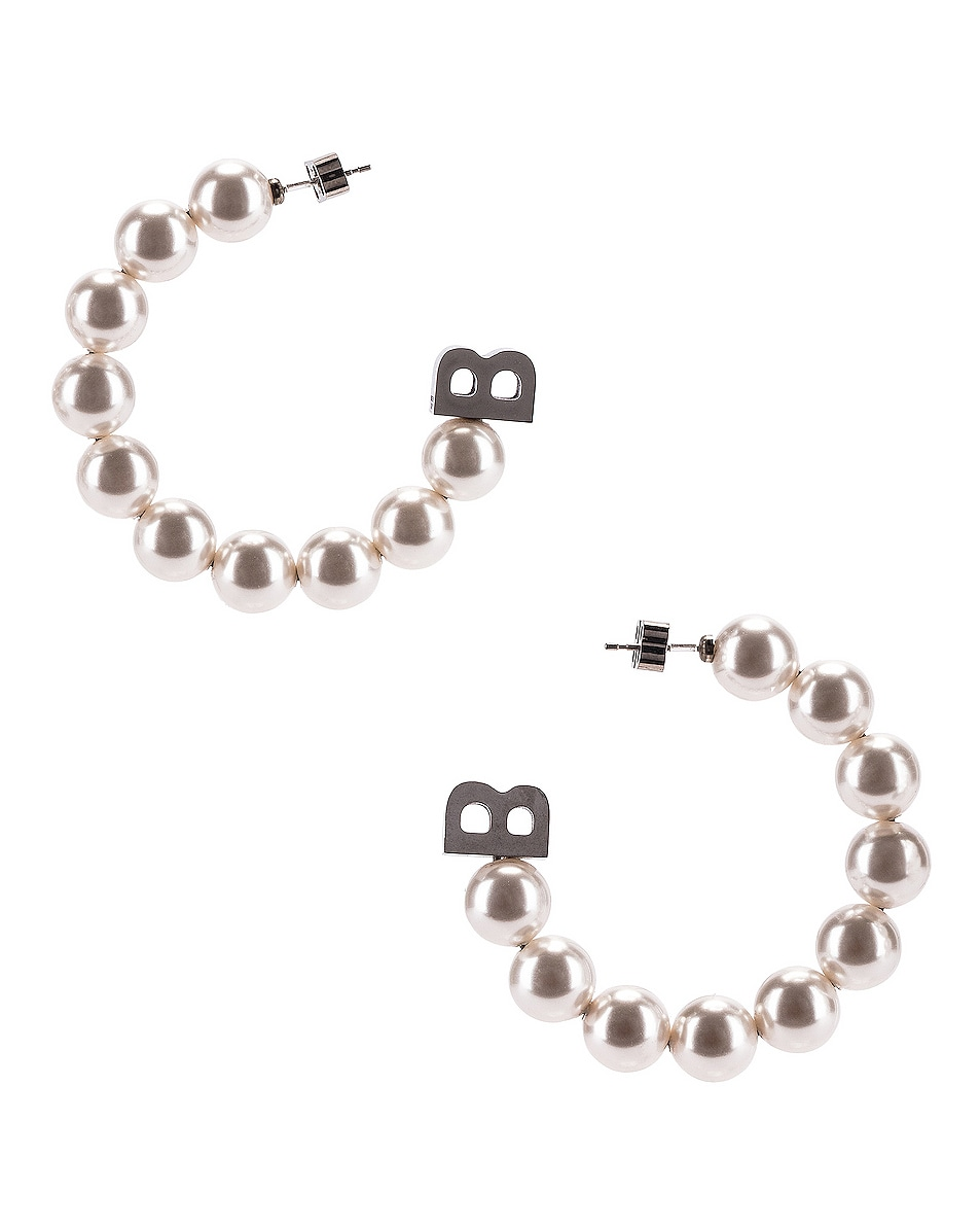 Image 1 of Balenciaga Pearl Earrings in White & Silver