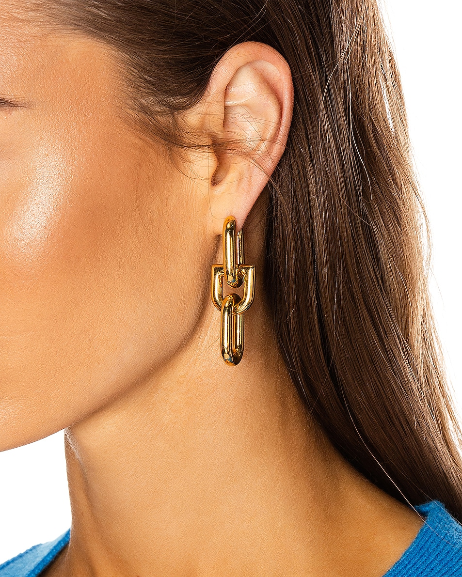 Image 2 of Balenciaga B Chain Earrings in Shiny Gold