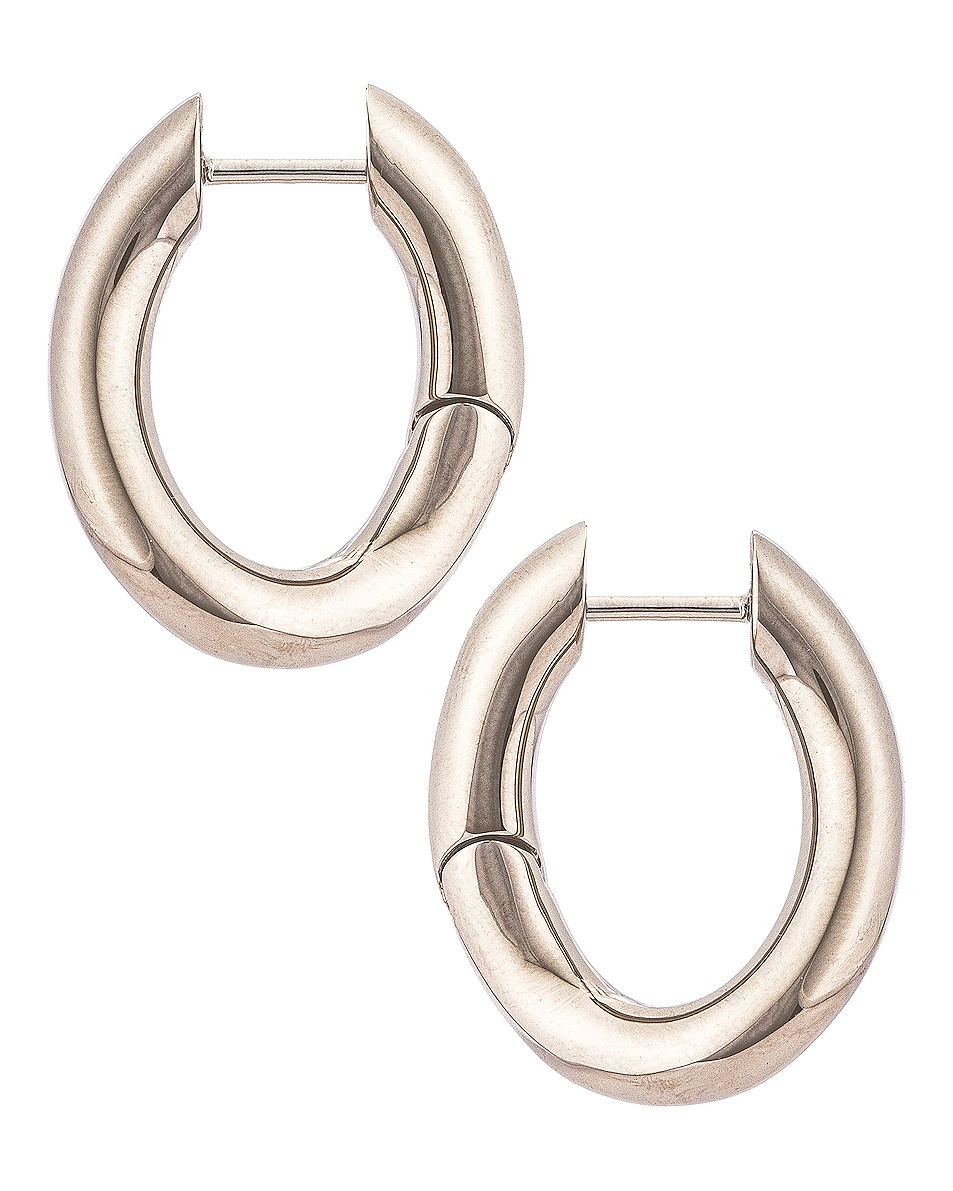 Image 3 of Balenciaga XS Loop Earrings in Shiny Silver