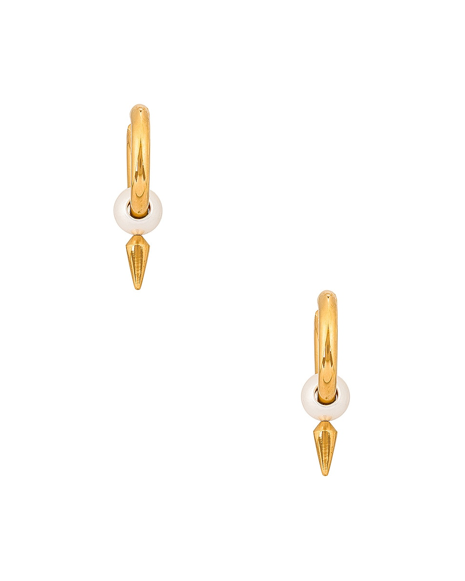 Image 1 of Balenciaga Force Spike Earrings in Gold & Pearl
