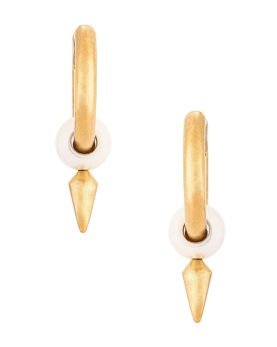 Image 4 of Balenciaga Force Spike Earrings in Gold & Pearl