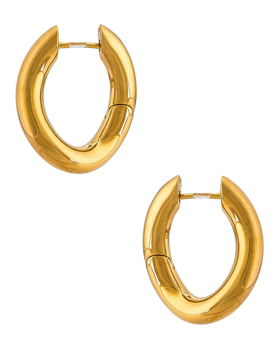 Image 1 of Balenciaga XS Loop Earrings in Shiny Gold