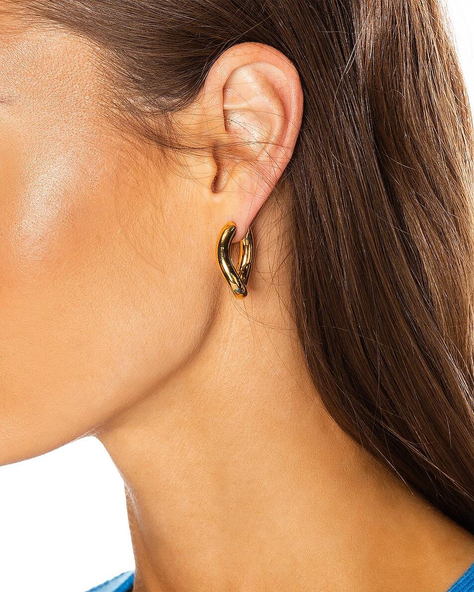 Image 2 of Balenciaga XS Loop Earrings in Shiny Gold